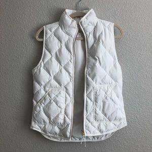 J. Crew Womens S White/Cream Zip Down Puffer Vest